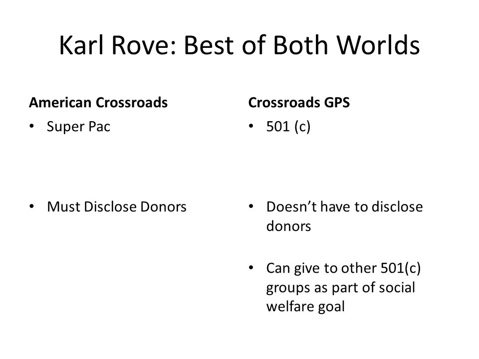 Karl Rove: Best of Both Worlds American CrossroadsCrossroads GPS Super Pac Must Disclose Donors 501 (c) Doesnt have to disclose donors Can give to other 501(c) groups as part of social welfare goal