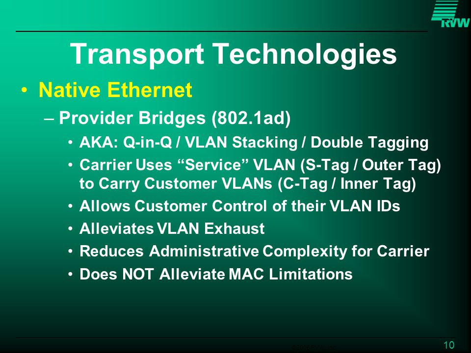 ©2006 RVW, Inc. 10 Transport Technologies Native Ethernet –Provider Bridges (802.1ad) AKA: Q-in-Q / VLAN Stacking / Double Tagging Carrier Uses Servic