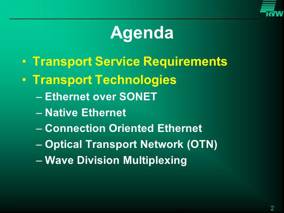 ©2006 RVW, Inc. 2 Agenda Transport Service Requirements Transport Technologies –Ethernet over SONET –Native Ethernet –Connection Oriented Ethernet –Op