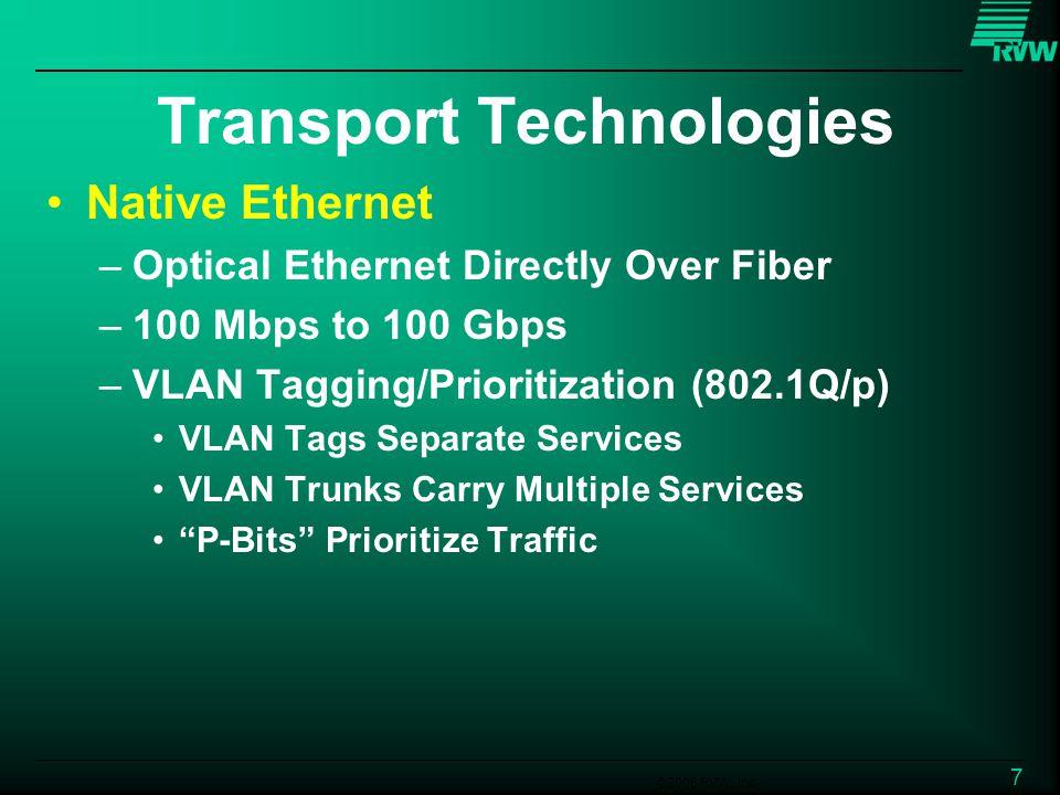 ©2006 RVW, Inc. 7 Transport Technologies Native Ethernet –Optical Ethernet Directly Over Fiber –100 Mbps to 100 Gbps –VLAN Tagging/Prioritization (802