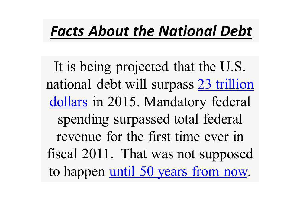 Facts About the National Debt The United States already has more government debt per capita than Greece, Portugal, Italy, Ireland or Spain does.