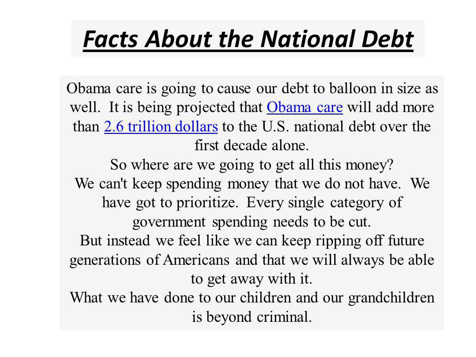 Facts About the National Debt The official government debt figure does not even account for massive unfunded liabilities that the U.S.