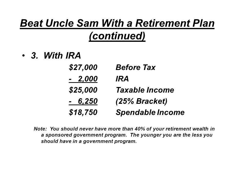 Beat Uncle Sam With a Retirement Plan (continued) 2.