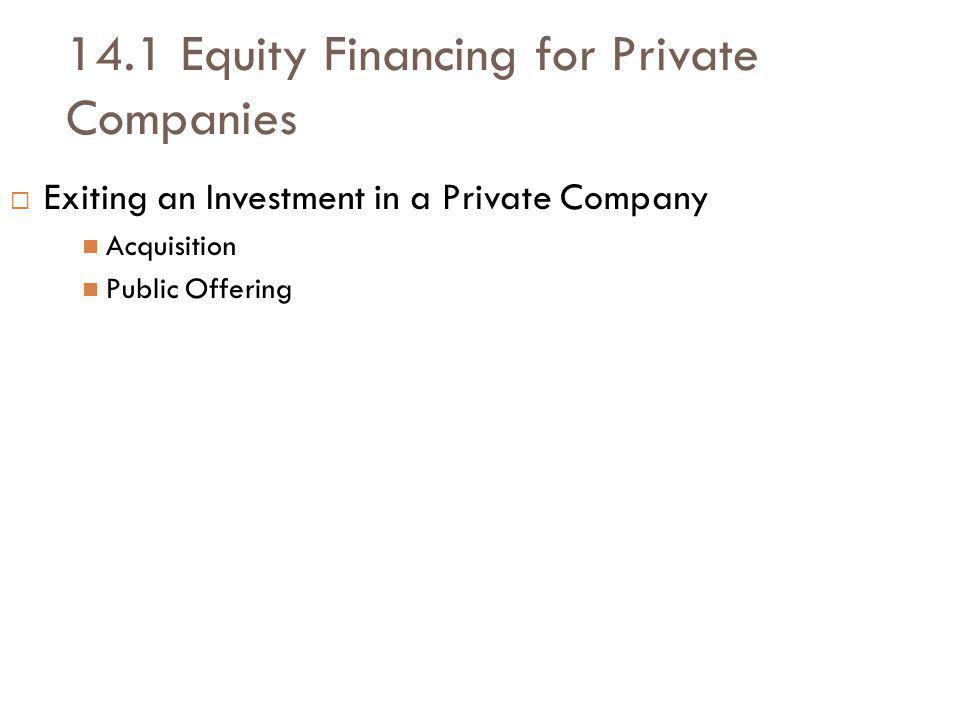 14.1 Equity Financing for Private Companies Exiting an Investment in a Private Company Acquisition Public Offering
