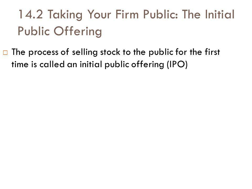 14.2 Taking Your Firm Public: The Initial Public Offering The process of selling stock to the public for the first time is called an initial public offering (IPO)