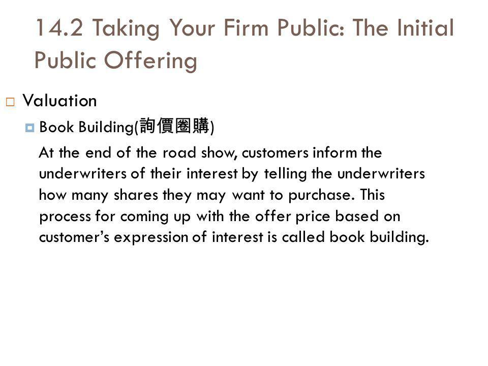 14.2 Taking Your Firm Public: The Initial Public Offering Valuation Book Building( ) At the end of the road show, customers inform the underwriters of their interest by telling the underwriters how many shares they may want to purchase.