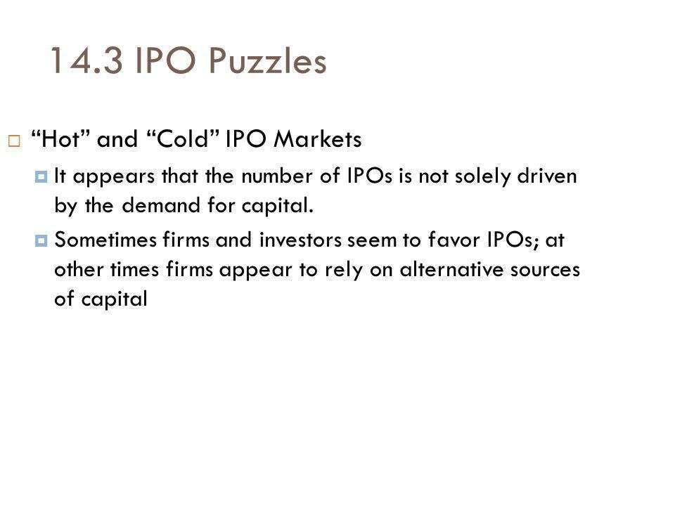 14.3 IPO Puzzles Hot and Cold IPO Markets It appears that the number of IPOs is not solely driven by the demand for capital.