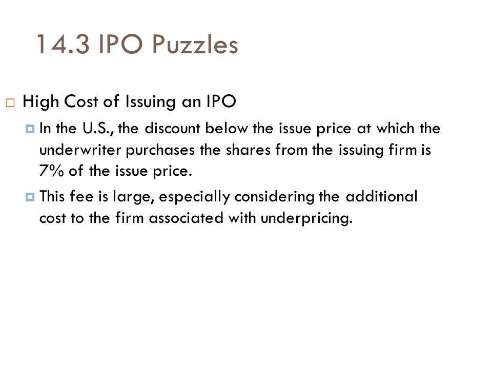 14.3 IPO Puzzles High Cost of Issuing an IPO In the U.S., the discount below the issue price at which the underwriter purchases the shares from the issuing firm is 7% of the issue price.