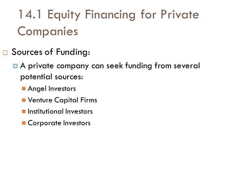 14.1 Equity Financing for Private Companies Sources of Funding: A private company can seek funding from several potential sources: Angel Investors Venture Capital Firms Institutional Investors Corporate Investors