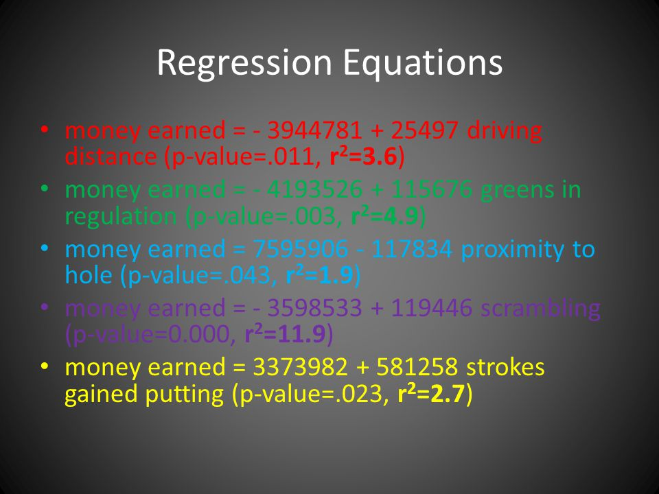 Regression Equations money earned = - 3944781 + 25497 driving distance (p-value=.011, r 2 =3.6) money earned = - 4193526 + 115676 greens in regulation