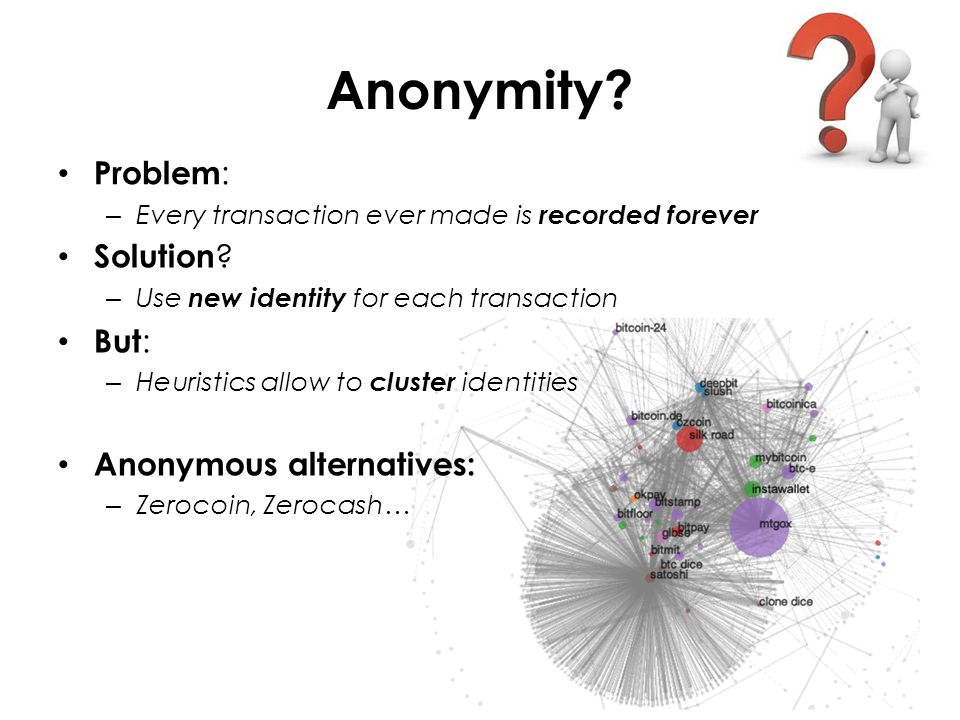 Anonymity. Problem : – Every transaction ever made is recorded forever Solution .