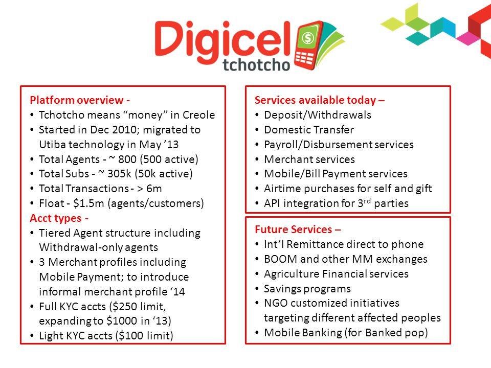 Platform overview - Tchotcho means money in Creole Started in Dec 2010; migrated to Utiba technology in May 13 Total Agents - ~ 800 (500 active) Total Subs - ~ 305k (50k active) Total Transactions - > 6m Float - $1.5m (agents/customers) Acct types - Tiered Agent structure including Withdrawal-only agents 3 Merchant profiles including Mobile Payment; to introduce informal merchant profile 14 Full KYC accts ($250 limit, expanding to $1000 in 13) Light KYC accts ($100 limit) Services available today – Deposit/Withdrawals Domestic Transfer Payroll/Disbursement services Merchant services Mobile/Bill Payment services Airtime purchases for self and gift API integration for 3 rd parties Future Services – Intl Remittance direct to phone BOOM and other MM exchanges Agriculture Financial services Savings programs NGO customized initiatives targeting different affected peoples Mobile Banking (for Banked pop)
