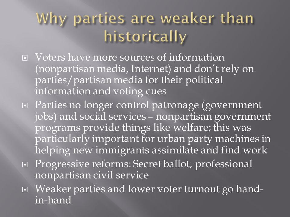 Voters have more sources of information (nonpartisan media, Internet) and dont rely on parties/partisan media for their political information and voting cues Parties no longer control patronage (government jobs) and social services – nonpartisan government programs provide things like welfare; this was particularly important for urban party machines in helping new immigrants assimilate and find work Progressive reforms: Secret ballot, professional nonpartisan civil service Weaker parties and lower voter turnout go hand- in-hand
