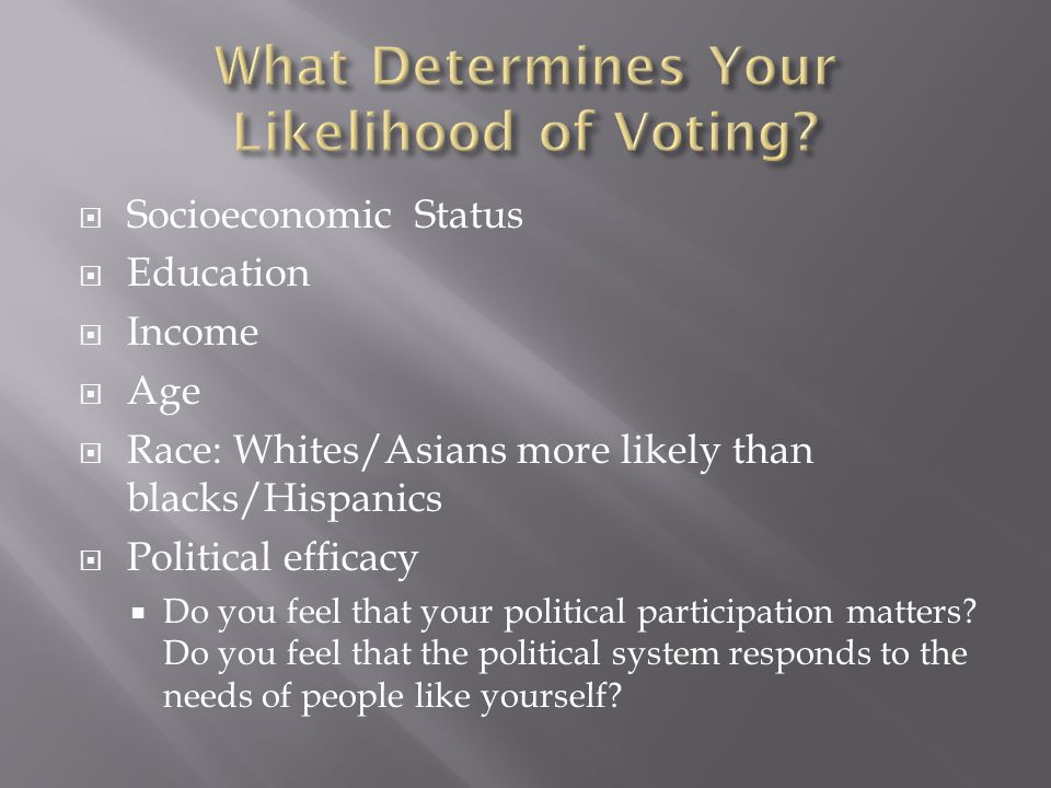 Socioeconomic Status Education Income Age Race: Whites/Asians more likely than blacks/Hispanics Political efficacy Do you feel that your political participation matters.