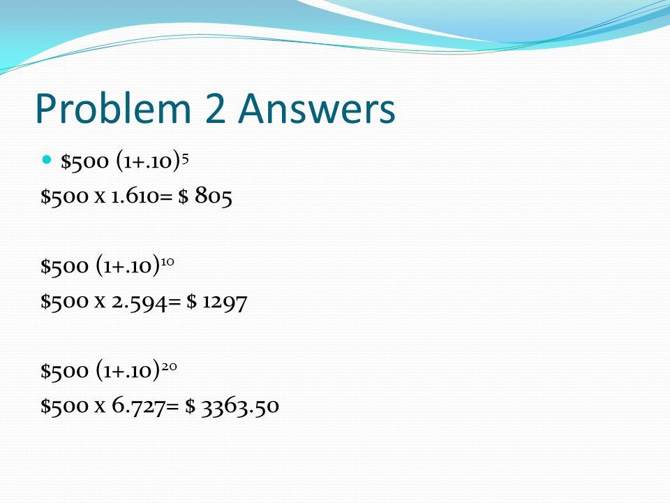 Problem 2 Answers $500 (1+.10) 5 $500 x 1.610= $ 805 $500 (1+.10) 10 $500 x 2.594= $ 1297 $500 (1+.10) 20 $500 x 6.727= $ 3363.50