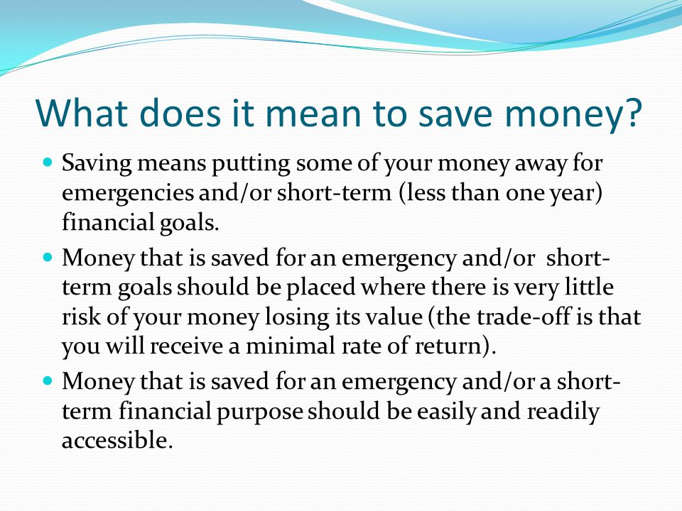 Savings Instruments We will discuss basic savings instruments such as savings accounts, money market accounts, and certificates of deposit when we discuss banking in a future unit.