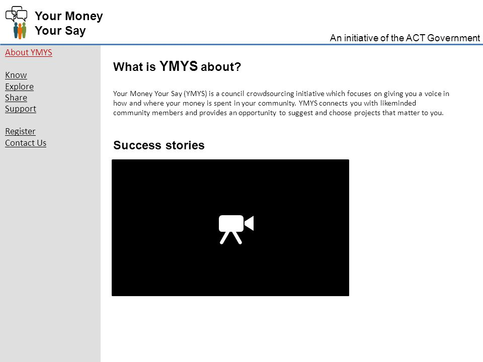 Your Money Your Say About YMYS Know Explore Share Support Register Contact Us What is YMYS about.