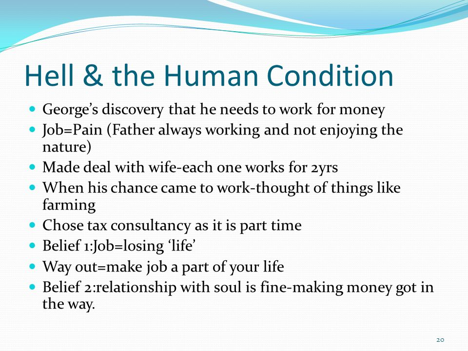 Hell & the Human Condition Georges discovery that he needs to work for money Job=Pain (Father always working and not enjoying the nature) Made deal wi