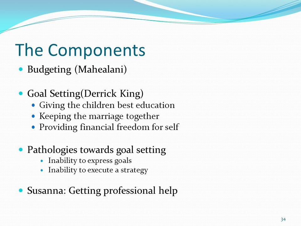 The Components Budgeting (Mahealani) Goal Setting(Derrick King) Giving the children best education Keeping the marriage together Providing financial f