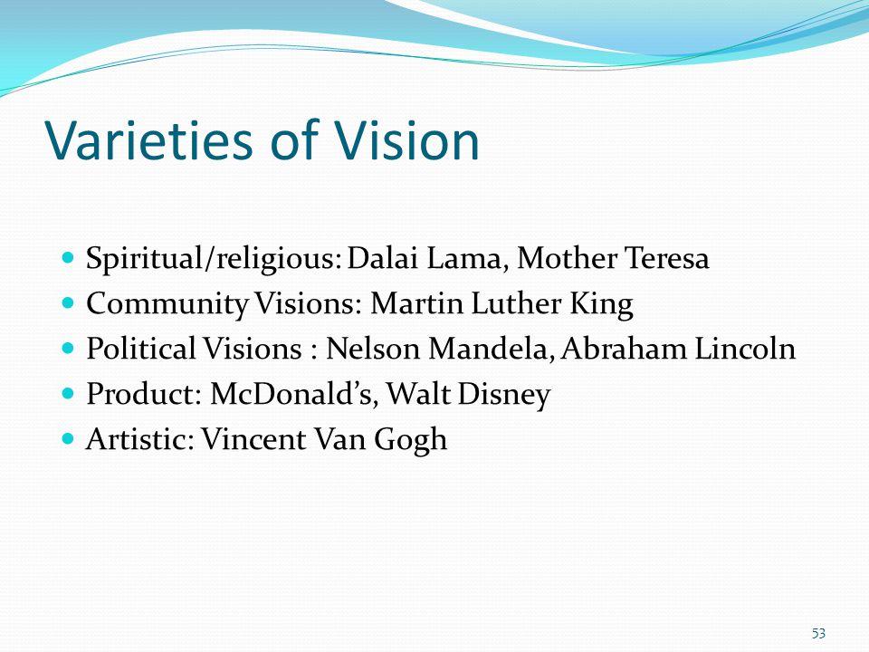 Varieties of Vision Spiritual/religious: Dalai Lama, Mother Teresa Community Visions: Martin Luther King Political Visions : Nelson Mandela, Abraham Lincoln Product: McDonalds, Walt Disney Artistic: Vincent Van Gogh 53