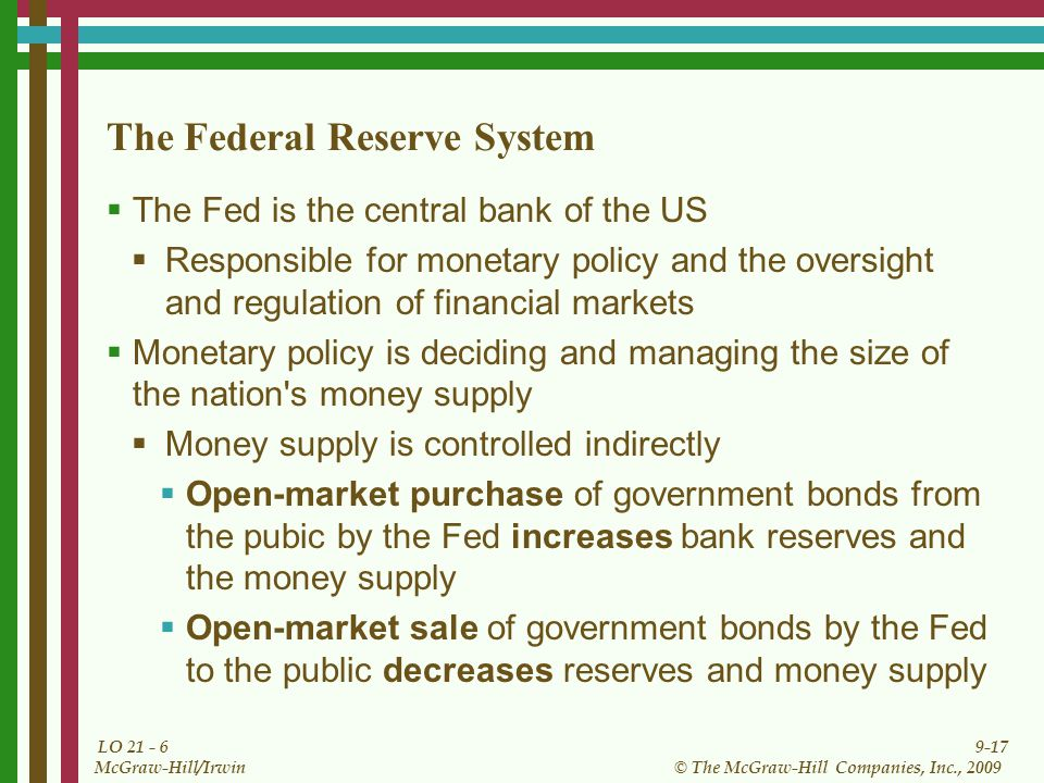 9-17 © The McGraw-Hill Companies, Inc., 2009 McGraw-Hill/Irwin LO 21 - 6 The Federal Reserve System The Fed is the central bank of the US Responsible
