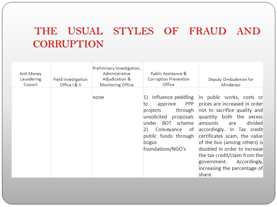 MOST SIGNIFICANT INCIDENCES OF CORRUPTION (BOTH PETTY AND GRAND CORRUPTION) IN THE PAST 5 YEARS (2007-2012) Anti-Money Laundering Council Field Invest