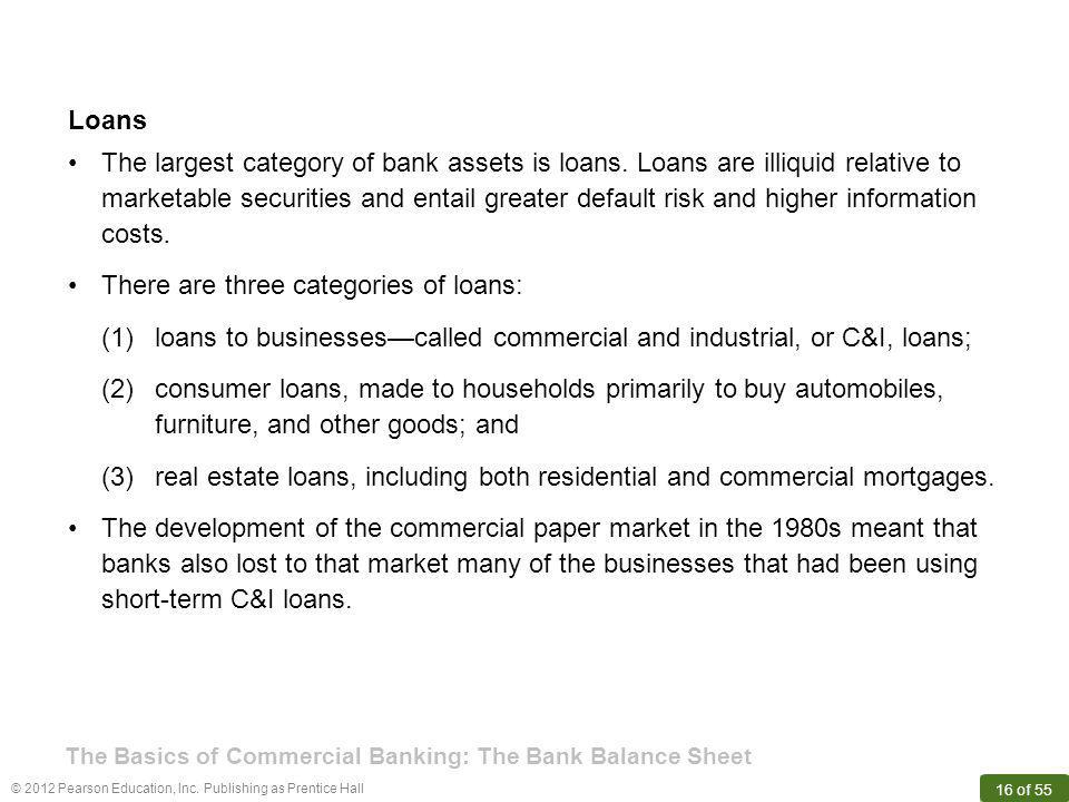 © 2012 Pearson Education, Inc. Publishing as Prentice Hall 16 of 55 Loans The largest category of bank assets is loans. Loans are illiquid relative to