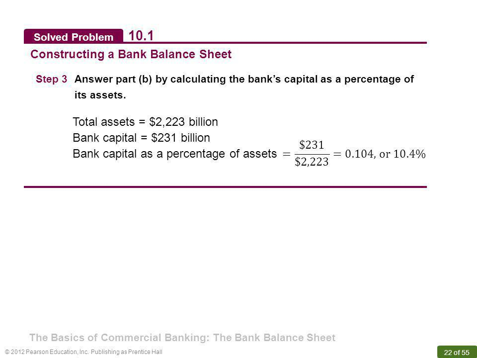 © 2012 Pearson Education, Inc. Publishing as Prentice Hall 22 of 55 Solved Problem 10.1 Constructing a Bank Balance Sheet Step 3Answer part (b) by cal
