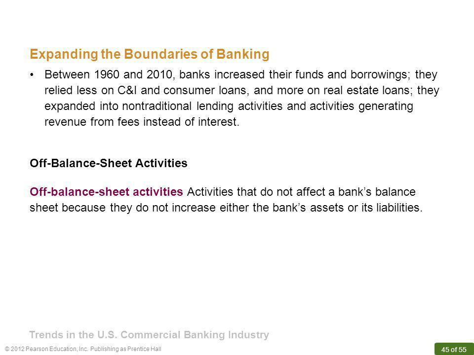 © 2012 Pearson Education, Inc. Publishing as Prentice Hall 45 of 55 Expanding the Boundaries of Banking Off-balance-sheet activities Activities that d