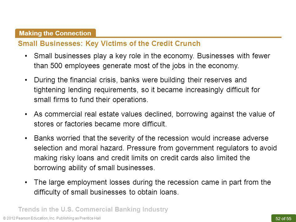 © 2012 Pearson Education, Inc. Publishing as Prentice Hall 52 of 55 Making the Connection Small Businesses: Key Victims of the Credit Crunch Small bus