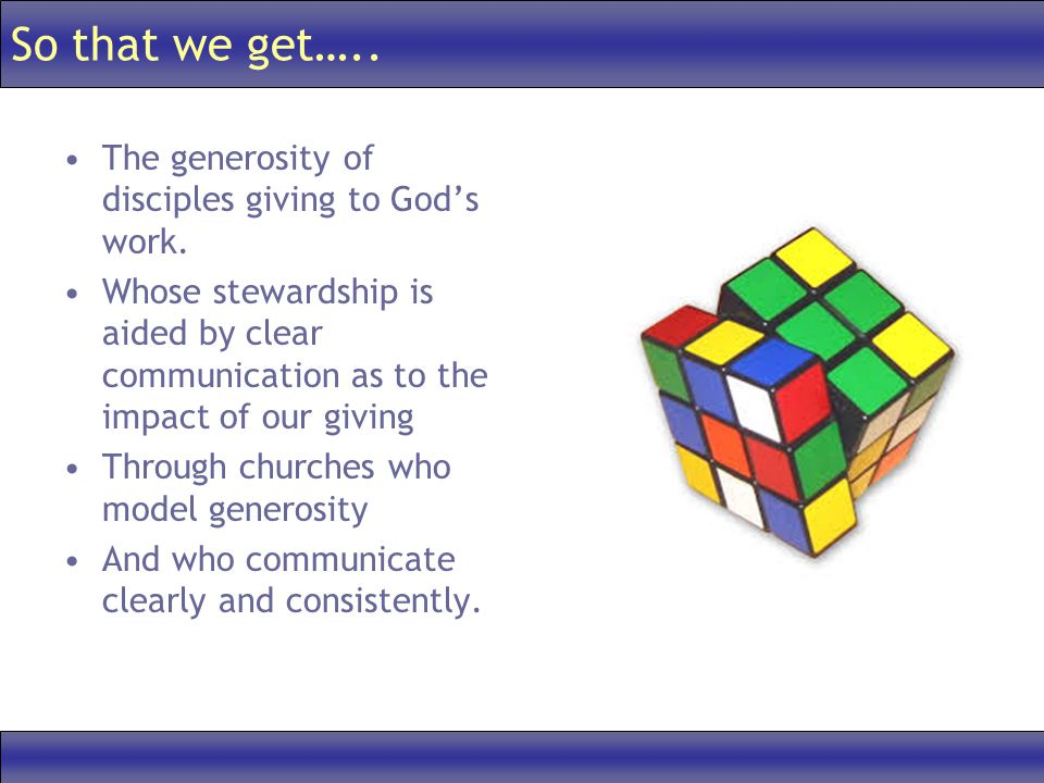 So that we get….. The generosity of disciples giving to Gods work.