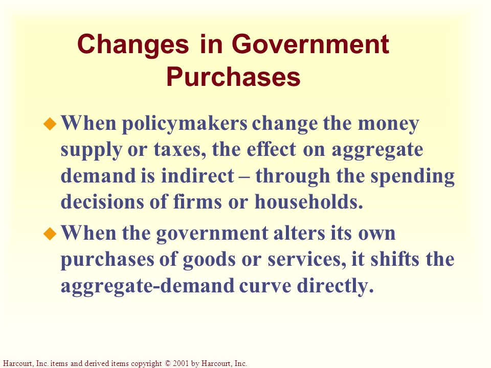 Harcourt, Inc. items and derived items copyright © 2001 by Harcourt, Inc. How Fiscal Policy Influences Aggregate Demand u Fiscal policy refers to the