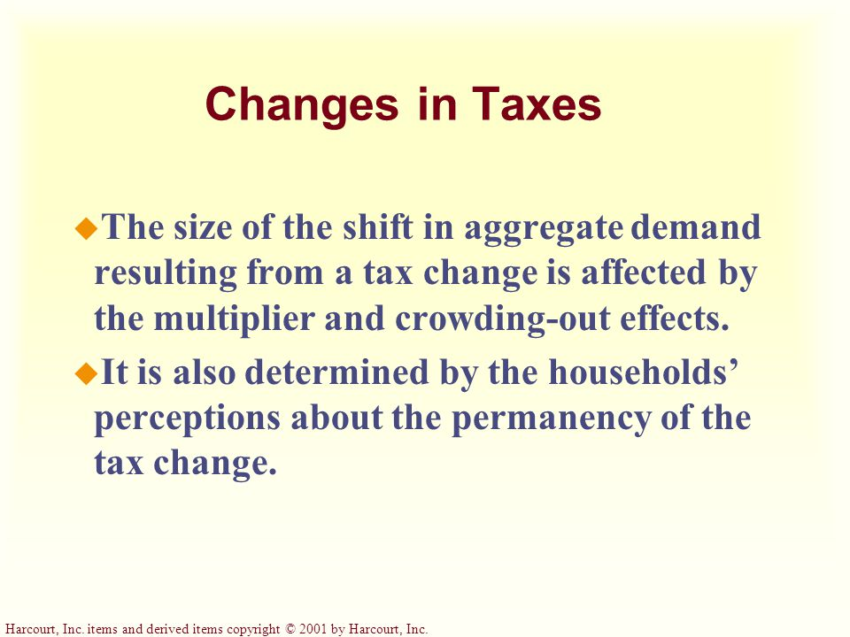 Harcourt, Inc. items and derived items copyright © 2001 by Harcourt, Inc. Changes in Taxes u When the government cuts personal income taxes, it increa