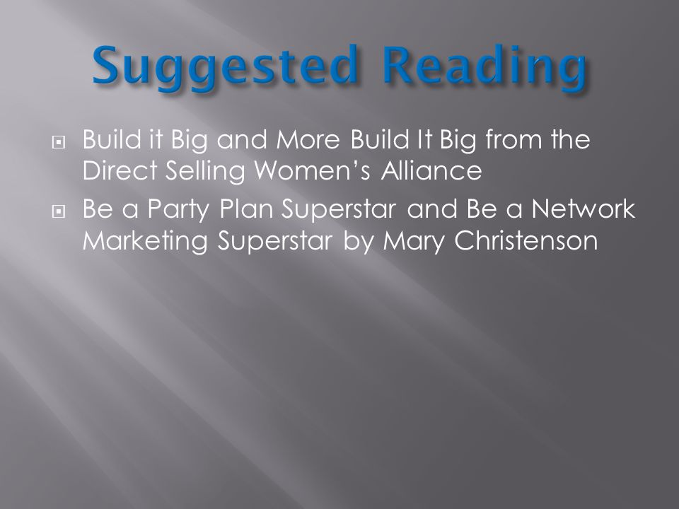 Build it Big and More Build It Big from the Direct Selling Womens Alliance Be a Party Plan Superstar and Be a Network Marketing Superstar by Mary Chri