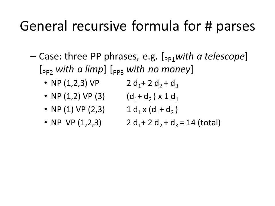 General recursive formula for # parses – Case: three PP phrases, e.g.