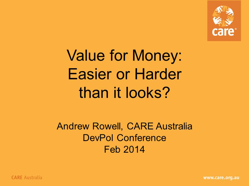 Value for Money: Easier or Harder than it looks.