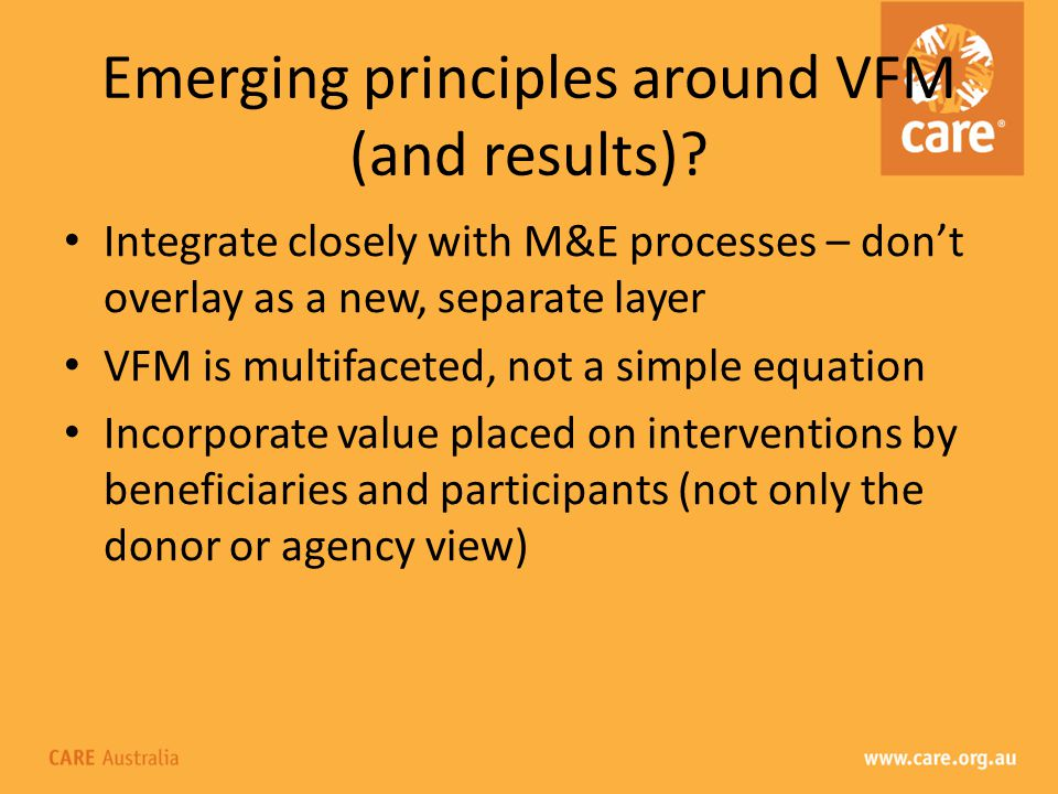 Emerging principles around VFM (and results).
