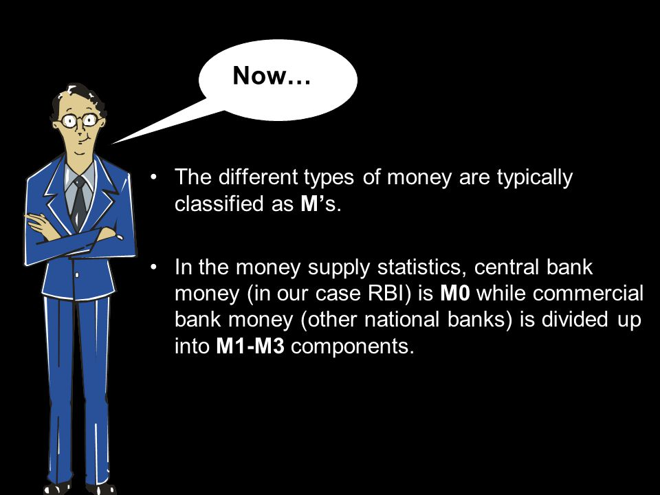 The different types of money are typically classified as Ms.