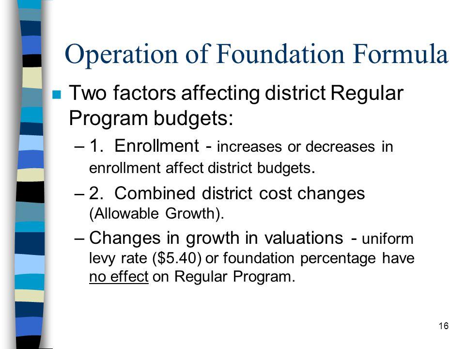16 Operation of Foundation Formula n Two factors affecting district Regular Program budgets: –1. Enrollment - increases or decreases in enrollment aff