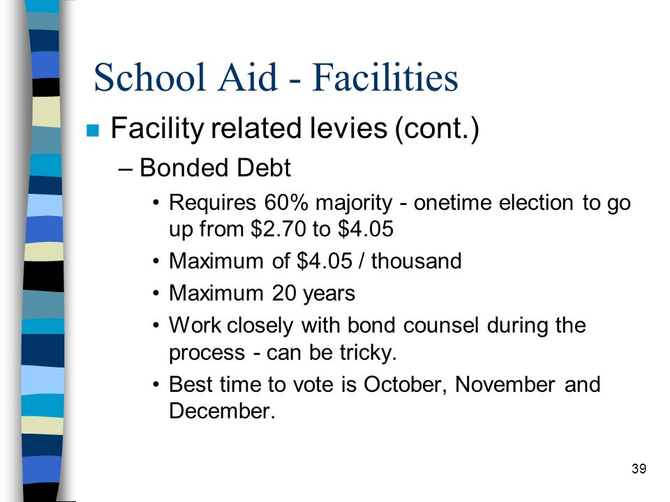 39 School Aid - Facilities n Facility related levies (cont.) –Bonded Debt Requires 60% majority - onetime election to go up from $2.70 to $4.05 Maximu