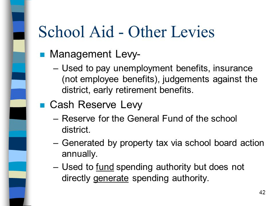 42 School Aid - Other Levies n Management Levy- –Used to pay unemployment benefits, insurance (not employee benefits), judgements against the district