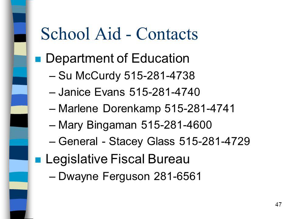 47 School Aid - Contacts n Department of Education –Su McCurdy 515-281-4738 –Janice Evans 515-281-4740 –Marlene Dorenkamp 515-281-4741 –Mary Bingaman