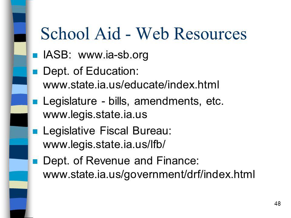 48 School Aid - Web Resources n IASB: www.ia-sb.org n Dept. of Education: www.state.ia.us/educate/index.html n Legislature - bills, amendments, etc. w