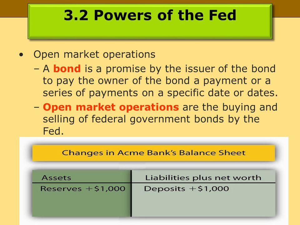 © 2013, published by Flat World Knowledge 3.2 Powers of the Fed Open market operations –A bond is a promise by the issuer of the bond to pay the owner of the bond a payment or a series of payments on a specific date or dates.