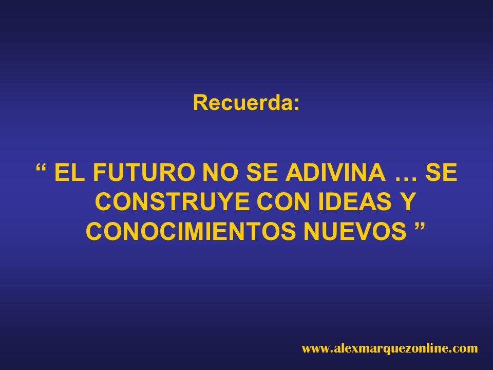 Recuerda: EL FUTURO NO SE ADIVINA … SE CONSTRUYE CON IDEAS Y CONOCIMIENTOS NUEVOS www.alexmarquezonline.com