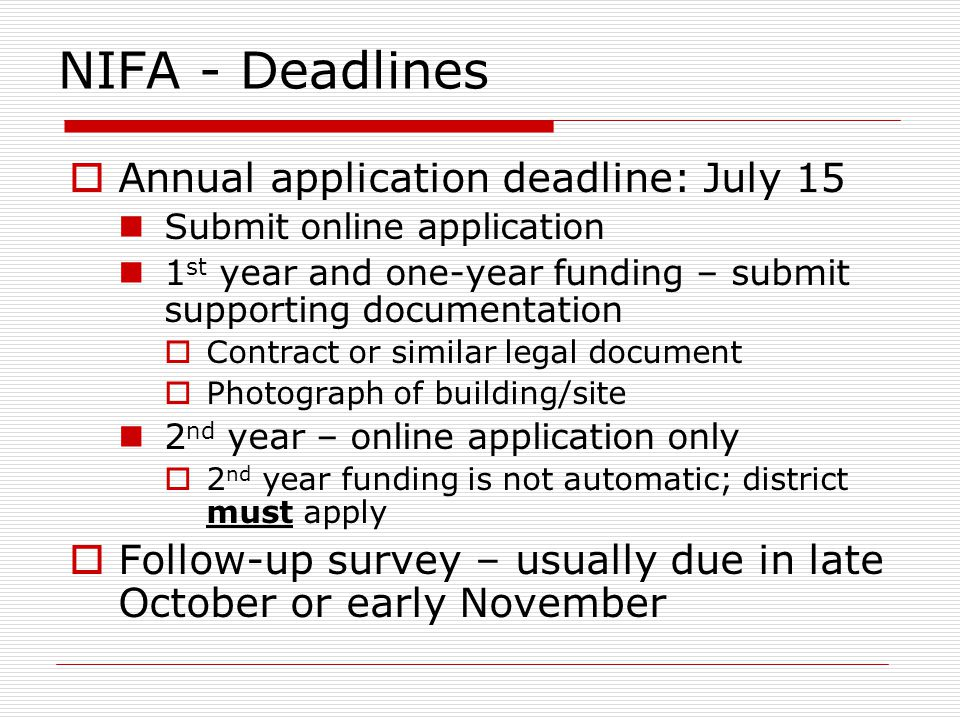 NIFA - Deadlines Annual application deadline: July 15 Submit online application 1 st year and one-year funding – submit supporting documentation Contract or similar legal document Photograph of building/site 2 nd year – online application only 2 nd year funding is not automatic; district must apply Follow-up survey – usually due in late October or early November