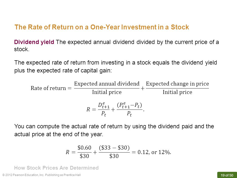 © 2012 Pearson Education, Inc. Publishing as Prentice Hall 19 of 50 Dividend yield The expected annual dividend divided by the current price of a stoc
