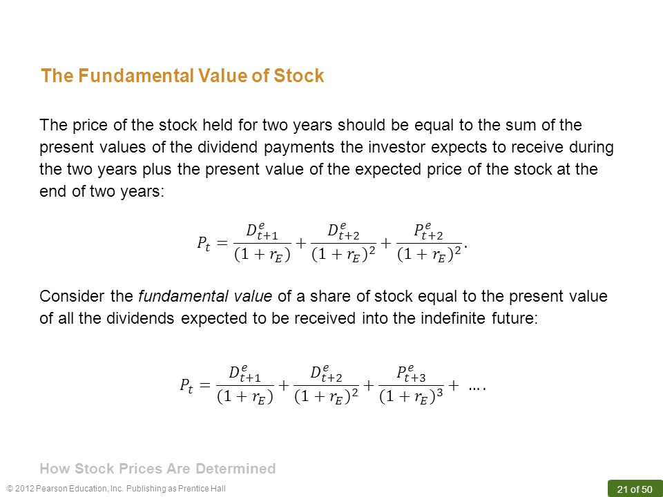 © 2012 Pearson Education, Inc. Publishing as Prentice Hall 21 of 50 The Fundamental Value of Stock The price of the stock held for two years should be
