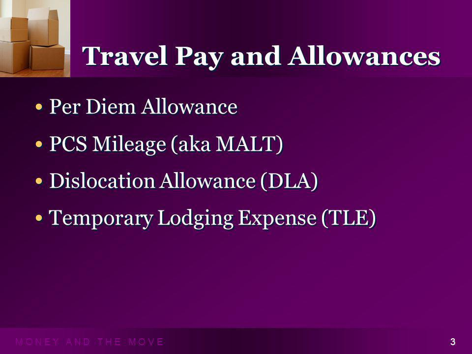M O N E Y A N D T H E M O V E3 Travel Pay and Allowances Per Diem Allowance PCS Mileage (aka MALT) Dislocation Allowance (DLA) Temporary Lodging Expense (TLE) Per Diem Allowance PCS Mileage (aka MALT) Dislocation Allowance (DLA) Temporary Lodging Expense (TLE)