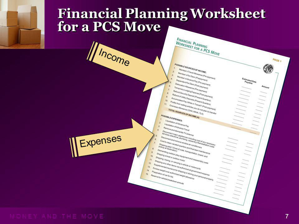 M O N E Y A N D T H E M O V E7 Financial Planning Worksheet for a PCS Move Income Expenses